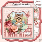 YORKIE YOU'RE MY CUP OF TEA 8x8 Decoupage & Insert Kit