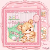 New Baby Girl Bear & Cradle 8x8 Decoupage Mini Kit