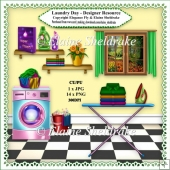 Laundry Day - Designer Resource Clipart Kit For Cards, Scrap etc