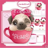 Pug In a Cup Shaped card set