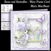 Roses and Butterflies - Wavy Frame card