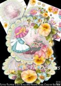 Little Flower Lady Scalloped Round Easel Card