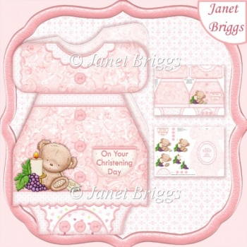 Pink Christening Gown Shaped Card Kit