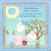 Baby Washing Line Card Making CU Elements