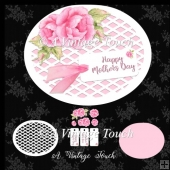 Oval Mothers Day card with lattis mat decouage rose cutting file