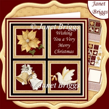 RED & GOLD CHRISTMAS SQUARES 7.5 Quick Layer Card & Insert Kit