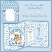 Blue Christmas Double Z Foldback Card