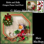 Robin and Holly - Octagon Frame Card Front