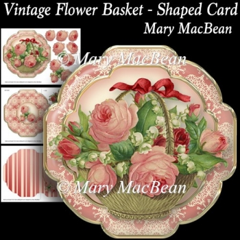 Vintage Flower Basket - Shaped Card