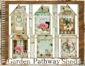 Garden Pathway Shed Graphics in 2 Sizes for Cards, Tags, Crafts