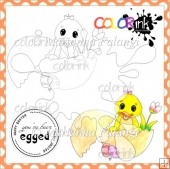 Happy Chicken and Sentiment Digital Stamp