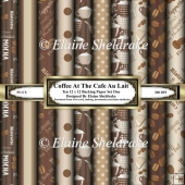 Coffee At The Cafe Au Lait - Ten 12 x 12 Assorted Backing Papers