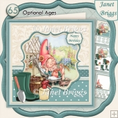 GARDEN GNOME CHILLING 8x8 Decoupage & Insert Kit