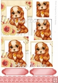 Cute little cavalier puppy with flowers & butterfly pyramids