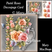 Pastel Roses Decoupage Card Front
