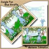 Jungle Fun - Blue Giraffe - Boy Birthday Card