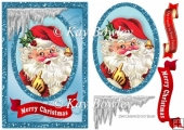 lovely jolly santa in glitter frame with icicles