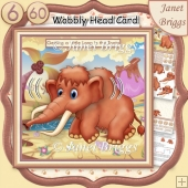 LONG IN THE TOOTH MAMMOTH WOBBLY HEAD CARD 8x8 Decoupage Kit