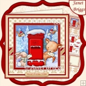 DEER SANTA 8x8 Christmas Decoupage & Insert Kit