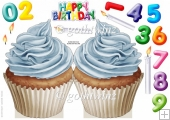 Number Candle Cup Cake (Blue)