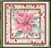 Pink poinsettia and red berry 7x7 card