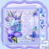 Blush of Iris Blue Birthday Verse 7.8 Decoupage Kit