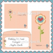 FLOWER DL SIZE BIRTHDAY CARD
