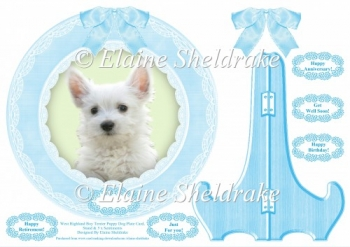 West Highland Terrier Boy Puppy Dog Plate Card & Plate Stand