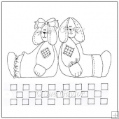 Folk Art Rabbits Digital Stamps/Line Art
