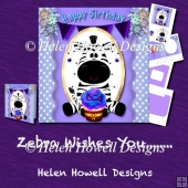 Zebra Wishes You... - Unisex Birthday Card