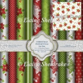 Christmas Poinsettias Set One - 12 x 12 - PU - 300 dpi