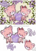 U & Me pair of cute valentine kitties in purple flower frame A5