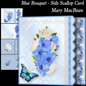 Blue Bouquet - Side Scallop Card