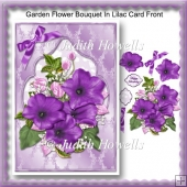 Garden Flower Bouquet In Lilac Card Front