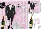 Wedding outfits, Bride & Groom with champagne 8x8