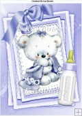 Cute little bear with lilac bow on lace stacker card A4