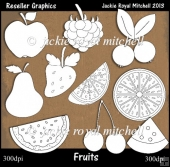 Fruits Colour Your Own Reseller Clipart