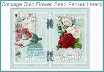 Cottage Chic Open Book Roses Seed Packet Insert