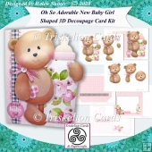 Oh So Adorable New Baby Girl Shaped 3D Decoupage Card Kit