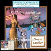 Native American Girl, Wolf & Dream Catcher - 6 x 6 Card Topper