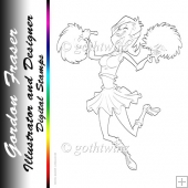 Cheerleader Dudess Digital Stamp