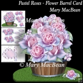 Pastel Roses - Flower Barrel Card