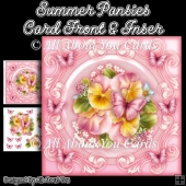 Summer Pansies 8x8 Fancy Card Front