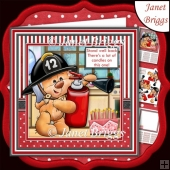 FIREBEAR STAND WELL BACK 7.5 Humorous Birthday Decoupage Kit