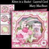 Kitten in a Basket - Layered Card