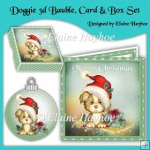 Doggie 3d Bauble with Card and Box