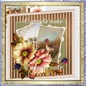 Dahlia and mallards 7x7 card with decoupage