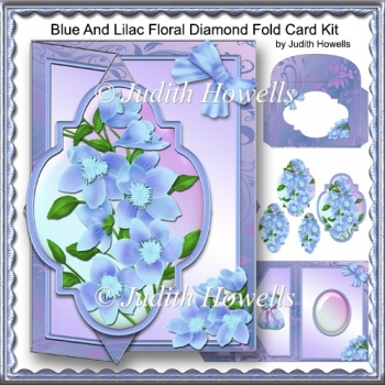Blue And Lilac Floral Diamond Fold Card Kit
