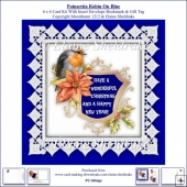Poinsettia Christmas Robin On Blue 6 x 6 Card Kit + Insert etc.