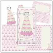 Anniversary Wedding Cake Pink DL Card Kit